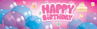 Girly Happy Birthday Banner