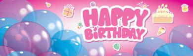 Girly Happy Birthday Banner